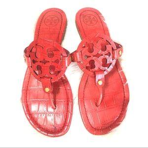 {Tory Burch} Croc Print Miller Sandals